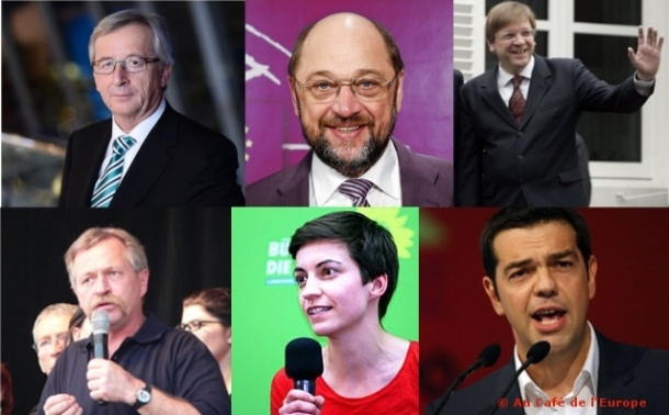 Juncker (EPP), Schulz (PES), Verhofstadt (ALDE), Bové & Keller (Greens) and Tsipras (GUE/NGL). Sources : Wikimedia Commons (EPP; Superbenjamin; White House; David Monniaux; Sarah Benke; FrangiscoDer). For licence to reuse, check the relevant links.